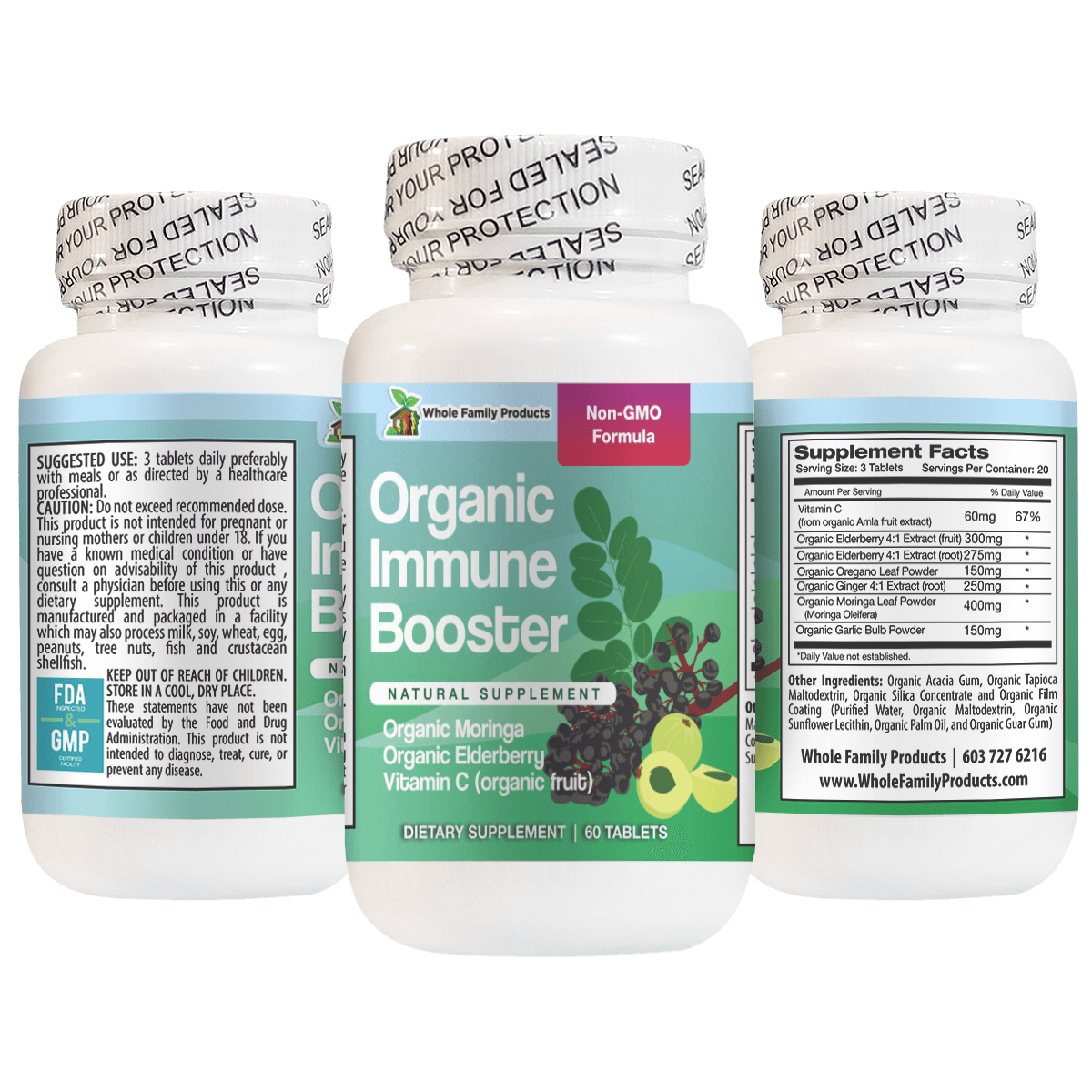 Organic Immune System Booster with Vitamin C, Organic Moringa and Elderberry
