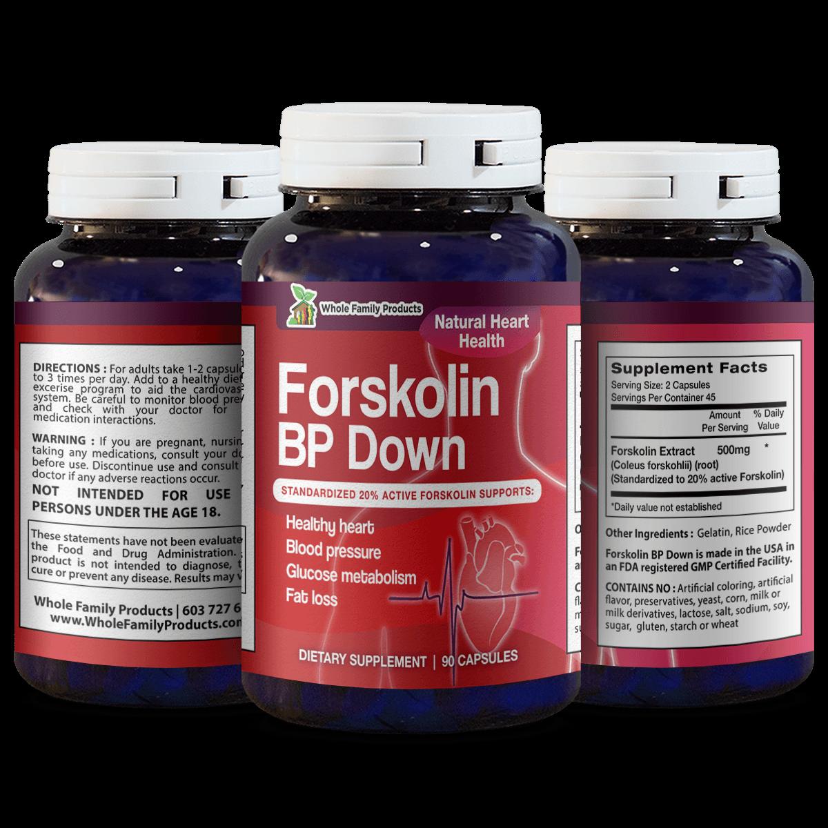 Forskolin BP Down 90 Capsules Natural Heart Health